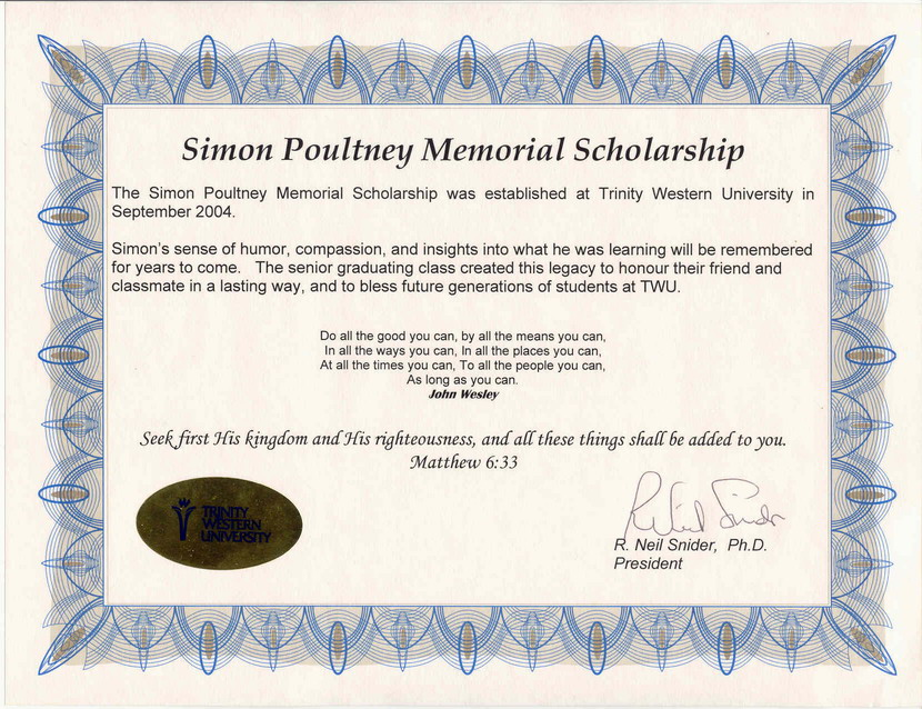 memorial scholarship certificate template simon poultney memorial scholarship twu